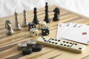 Chess, domino, playing cards, dice